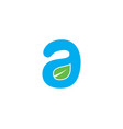initial letter a logo with green leaf ecology vector image
