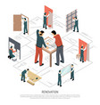 isometric renovation infographics vector image vector image