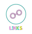 links round linear icon with small chain segment vector image vector image