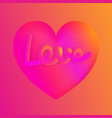 Love lettering on pink heart colorful neon figures