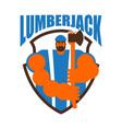 lumberjack logo woodcutter sign lumberman symbol vector image vector image