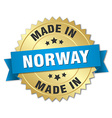 made in Norway gold badge with blue ribbon vector image vector image