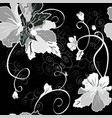 mallow flower seamless set black vector image vector image