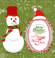 Merry Christmas with snowman greeting card vector image vector image