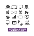 network systems administration icons set vector image vector image
