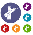 oil paints icons set vector image vector image