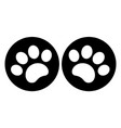 paw prints on a black circle symbol icon vector image vector image