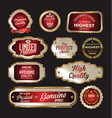 premium quality gold and red labels vector image vector image