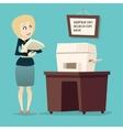 retro vintage cartoon businesswoman character vector image vector image
