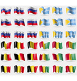 Russia Tuva Belgium Guinea Set of 36 flags of the vector image vector image