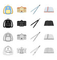 school backpack college building compasses open vector image