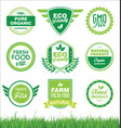 set organic fresh natural and tasty food labels vector image vector image