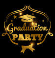 shining golden graduation party banner background vector image vector image