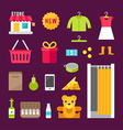Shopping and Sale Set of Flat Style and Icons vector image