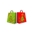 shopping bag set decorated with christmas trees vector image