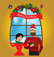 smiling man holding christmas gift in hand and vector image vector image