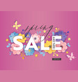 spring sale special offer banner paper cut flowers vector image