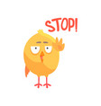stop funny cartoon comic chicken showing hand vector image vector image