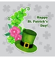 Stpatrick day greeting card with hat flowers and vector image vector image