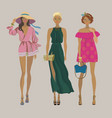 stylish summer girlsfashion models vector image vector image