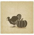 Thanksgiving symbols turkey and pumpkin vector image vector image