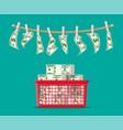 wet dollar bills hanging on rope vector image