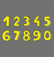 yellow numbers isolated on grey background vector image vector image