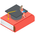 young girl sitting with laptop on graduation vector image