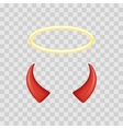 Angel halo and devil horns isolated on transparent vector image