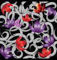 3d purple red flowers seamless pattern vector image
