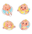 baby portraits in different situations vector image vector image