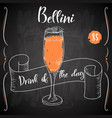 bellini cocktail hand drawn drink on white vector image vector image