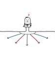 cartoon businessman choosing direction vector image