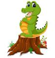 cartoon crocodile posing on tree stump vector image vector image
