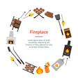 cartoon fireplace banner card circle vector image vector image