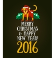 christmas and happy new year 2016 greeting card vector image vector image