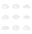cloud icon set outline style vector image vector image