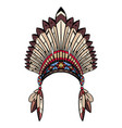 coloring drawing native cap indian with vector image