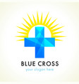 cross logo blue on sun vector image
