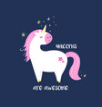 cute magical unicorn inspirational card vector image vector image