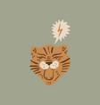 cute tiger face composition ecology concept vector image vector image