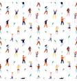 dancing people seamless pattern tiny persons vector image vector image