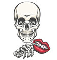 death with toy lips in a hand vector image vector image