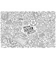 doodle cartoon set soccer objects vector image