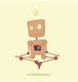funny cartoon meditating robot with idea vector image vector image