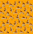 funny seamless pattern with isolated cartoon dog vector image
