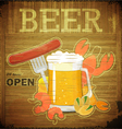 glass of beer and snack on wooden background vector image vector image