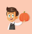 happy boy holding pumpkin waiting for autumn seaso vector image