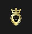 head lion with crown gold logo vector image vector image