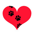 heart with pawprints vector image
